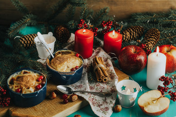 Christmas and New Year composition with sweet delicious apples
