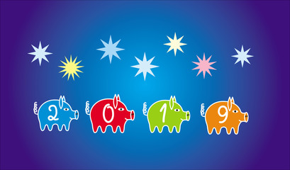 Colorful Christmas, new year background to the year of the pig 2019. 4 pigs among the stars on a blue background of the sky with moon. Vector graphics.