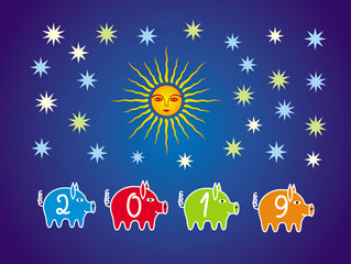 Colorful Christmas, new year background to the year of the pig 2019. 4 pigs among the stars on a blue background of the sky with moon sun. Vector graphics.
