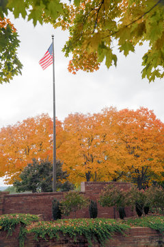 American flag on pole in park at autumn