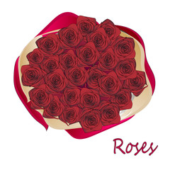roses wrapping paper, bouquet top view