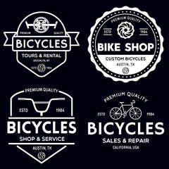 Set of vintage and modern bike shop logo badges and labels. Cycle wheel isolated vector. Old style bicycle shop and repair logotypes.