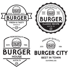 Set of badges, banner, labels and logo for hamburger, burger shop. Simple and minimal design. Vector illustration.