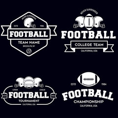 Set of american football related badges, logos, labels, insignias in retro monochrome style. Graphic vintage design for t-shirt, web. Colorful print.