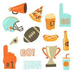 Super bowl party vector icon set. Sport games celebration icons. American football vintage retro style. Helmet, award, cup, trophy, pizza slice, football, popcorn, beer bottle, megaphone, foam hand
