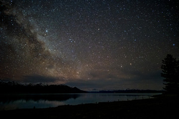 Beautiful milky way, starry night over the snow mountain at Lake Pukaki, New Zealand. High ISO Photography.