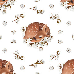 Small sleepy baby deer and cotton seamless pattern on white background