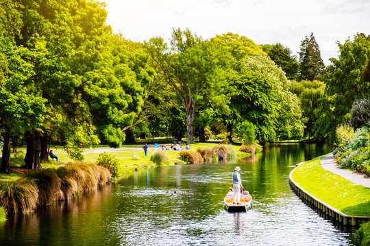 View of the river in Christchurch Botanic garden.