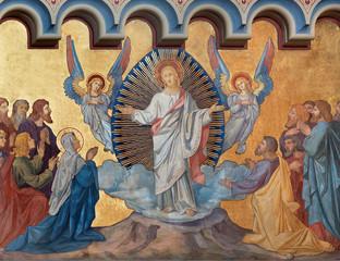 Fototapete - PRAGUE, CZECH REPUBLIC - OCTOBER 17, 2018: The fresco of Ascension of the Lord the in church kostel Svatého Cyrila Metodeje by  František Sequens (sc. half of 19. cent.).