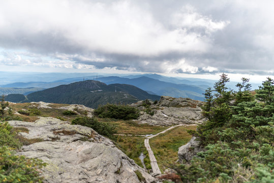 Mount Mansfield Vermont peak on a cloudy sumemr day