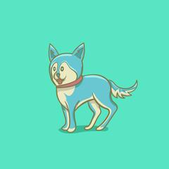 blue dog cartoon illustration