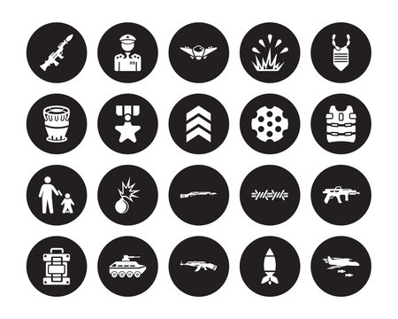 20 vector icon set : Grenade Launcher, Airplane Bomb, AK 47, Armo Vehicle, Army backpack, Dog tag, Chamber, Bayonet On Rifle, execution, Condecoration isolated on black background