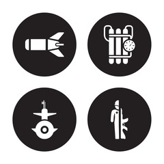 4 vector icon set : Torpedo, Submarine Front View, Time Bomb with Clock, Soldiers and a weapon isolated on black background