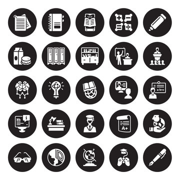 25 vector icon set : Notes, game-based learning, Geography, Geology, Glasses, Lecture, interactive course, Graduation, Information, Lunch, mobile Notebook isolated on black background.
