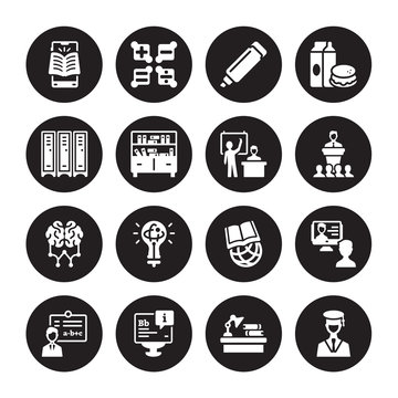 16 vector icon set : mobile learning, Homework, Information, Instructor, interactive course, Graduation, Lockers, Learning, Lesson isolated on black background