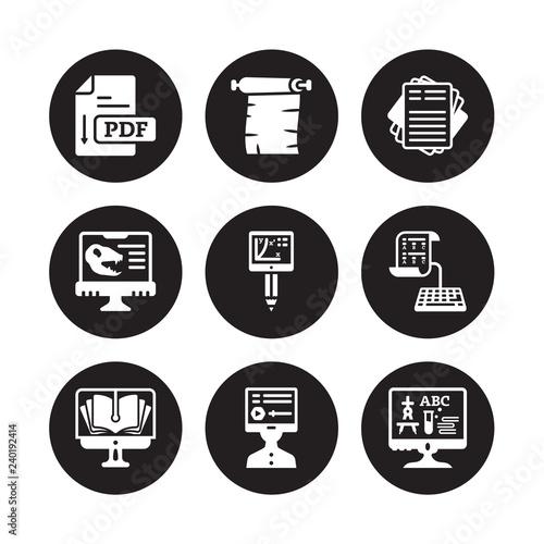 9 vector icon set : Pdf, Parchment, Online library, test
