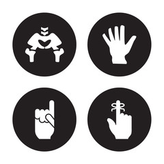 4 vector icon set : Hip Bone, Hand gesture raising the index finger, showing palm, finger with a ribbon isolated on black background