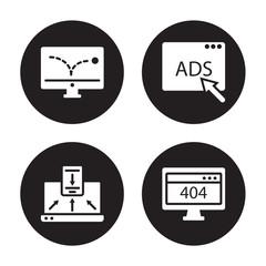 4 vector icon set : advertising Bounce, Adaptive Layout, Advertising, 404 error isolated on black background