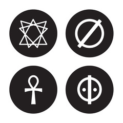 4 vector icon set : Bahai, Ankh, atheism, animism isolated on black background