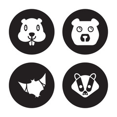 4 vector icon set : Beaver, Bat, Bear, Badger isolated on black background