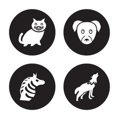 4 vector icon set : kitten, Zebra, puppy, Wolf isolated on black background