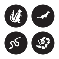 4 vector icon set : skunk, blindworm, weasel, copperhead isolated on black background