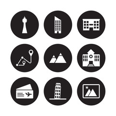 9 vector icon set : Space needle, Skyscraper, Plane ticket, Police station, Pyramids, Shopping center, Route, Pisa isolated on black background