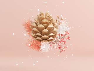 wood pine cone snowflake and leaf levitation abstract winter concept 3d rendering