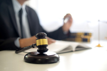 Judge lawyer gavel work in office