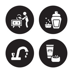4 vector icon set : Dusting, Tap, Dish soap, Cream isolated on black background