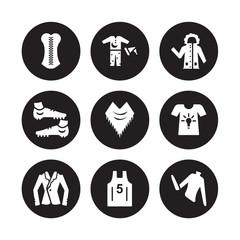 9 vector icon set : Corset, Pijama, Blazer, T-shirt, Shawl, Parka, Soccer shoe, Basketball jersey isolated on black background