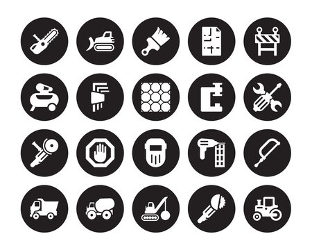 20 vector icon set : Chainsaw, Circular saw, Demolition, Concrete, Tipper, Barrier, Vise, Welding, Angle grinder, Hex key, Brush isolated on black background