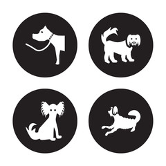 4 vector icon set : Pitbull dog, Papillon Pekingese Otterhound dog isolated on black background