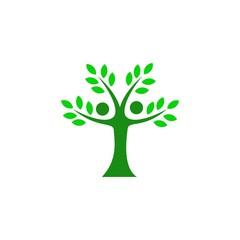 green tree family logodesign vector illustration