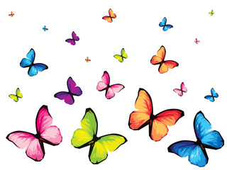 Set of six colorful butterfly isolated on white background, yellow green blue red pink wings insects flying. Pattern logo geometric. Bug polygonal crystal style.