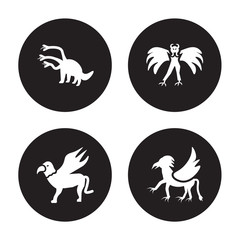 4 vector icon set : Hydra, Gryphon, Harpy, Griffin isolated on black background