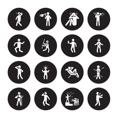 16 vector icon set : determined human, blessed bo broken chill blah crappy confident content human isolated on black background