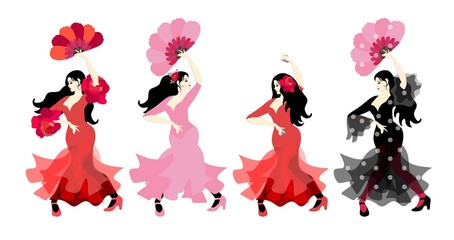 Set FLAMENCO child girl PINK dress hand fan castanets flower FLAMENCA Spanish