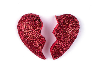 Broken red heart isolated