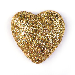 Gold heart isolated