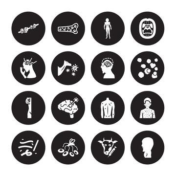 16 vector icon set : Metastatic cancer, Loiasis, Lung Lupus, Lupus erythematosus, Listeriosis, Mattticular syndrome, Lymphoma, Malaria isolated on black background