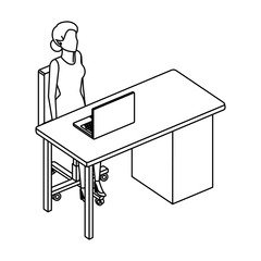 woman in the desk with laptop character