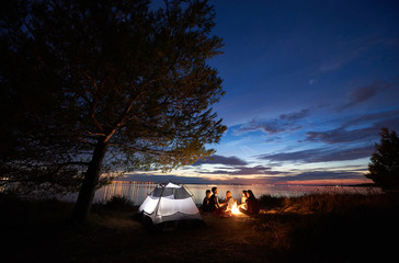 Group of five tourists having a rest on lake shore around campfire near tent under big tree and blue evening sky with first stars at sunset. Tourism, friendship camping and beauty of nature concept. Wall mural