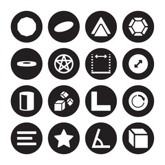 16 vector icon set : Ennegon, Angle, Asterisk, Center alignment, Circle, 3d cube, Disk, Cylinder, Dimensions isolated on black background
