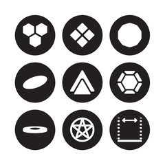 9 vector icon set : Hexagon, Geometry, Disk, Dodecahedron, Double hexagon of small triangles, Ennegon, Ellipse, pentagrammic isolated on black background
