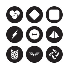 9 vector icon set : Rgb, Reflection, Polygonal wolf head, Prism, Radius, Rectangle, Ray, wings isolated on black background