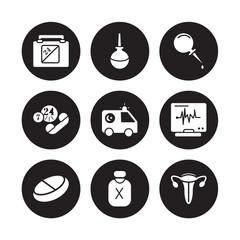 9 vector icon set : Defibrillator, Crutch, Broken leg, Caduceus, Cardiogram, Contraceptive pills, Condom, Breast pump isolated on black background