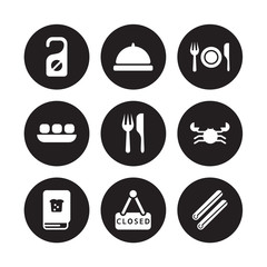 9 vector icon set : Do not disturb, Dish, Cookbook, Crab, Cutlery, Dinner, Dim sum, Closed isolated on black background