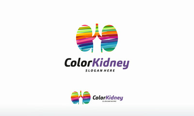 Colorful Kidney Care logo designs concept vector, Health Kidney logo template designs