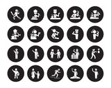 25 vector icon set : Driver, Archeologist, athlete, Baby
